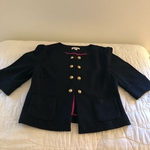Ann Taylor LOFT Wool Blend Cropped Military Jacket